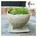 美術, 美術品, 古董, 民間工藝品 - 手作り陶器植木鉢 足付丸 苔色 小
