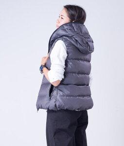 ダウンベストレディース【Ecarina】スーツ生地ダウンベスト全4色ダウンフェザーノースリーブSサイズMサイズフードダウンジャケット防寒