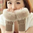 指なし手袋 ファー レディース スマホ対応 指なし手袋ファー ニット アームウォーマー グローブ 防寒 ギフト プレゼント 子供 女の子