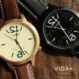 【送料無料】 VIDA+ [ヴィーダプラス] 時計 腕時計 『 文字盤反転デザイン 』BIGフェイスウォッチ レザーバンド UNISEX兼用サイズ スクリューバック製法 クォーツ VOGA Original Brand. ブラック ブラウン メンズ レディース