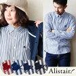【送料無料】 ALISTAIR [アリステア] 長袖 ボタンダウン シャツ ワンポイント刺繍 ロンドンストライプ 柄 日本製 スリム (レッド ネイビー ブルー ブラック) メンズ レディース シャツ シェイプサイズ ストライプ
