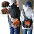 【送料無料】 ミリタリー ショルダー バッグ ボディ バッグ 本革 パッチ ワックスコーティングツイル ブラック カーキ 鞄