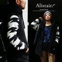 【送料無料】 ALISTAIR×LOUD ANGEL ボアパーカー 袖切り替え フリースボア ジップアップ ハイネックデザイン メンズパーカー レディースパーカー ブラック 黒