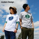 【全国一律送料324円】 modem Design [モデムデザイン] 半袖 Tシャツ アップル ロゴ 単色 プリント デザイン 綿100% カジュアル メンズ レディース 夏 夏物