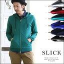 【送料無料】Slick [スリック] 綿モダールSZ天竺同色リブ切り替えWジップアップパーカー(6色)SLICK スリック パーカー メンズ