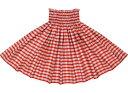 【コットン100%】 赤のパウスカート パラカ柄 spau-ctt-palaka-rd 綿100%フラダンス衣装子どもから大人まで【丈とゴム本数が選べる】