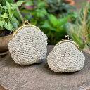 【メール便 2点まで】【新製品】asana HEMP100% 立体かぎ編み がま口 ポーチ ヘンプ