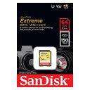サンディスクExtreme 64GB【SDXCカードSDSDXV6-064G-GNCIN】最大R=150MB/s・V30・UHS-I U3・Class10・4K