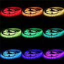 【送料無料】イルミネーション LEDテープライト 5M 150連 SMD5050 5M/150LED テープ型 正面発光 RGB リモコン操作 カラー選択可能 切断可能