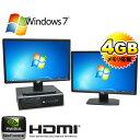 中古パソコン 64Bit Win7 Pro HP 8000Elite SFF 22ワイド液晶x2枚 デュアルモニタ Core2Duo E8400(3.0GHz) メモリ4GB DVD-ROM GeForceG..