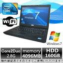 中古パソコン ノートパソコン Windows 7【Windows 7搭載】DELL Latitude E5500 Core2Duo 2.8G/4G/160GB/無線有【中古】【中古パソコン】【中古ノー