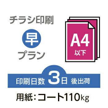 3000枚■【チラシ印刷・フライヤー印刷】A4サイズ以下 データ入稿(オリジナル/激安) A4(B5)コート110kg/納期3日/片面フルカラー