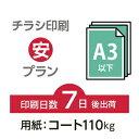 6000枚■【チラシ印刷・フライヤー印刷】 A3サイズ以下・データ入稿(オリジナル/激安) A3(B4)コート110kg/納期7日/片面フルカラー