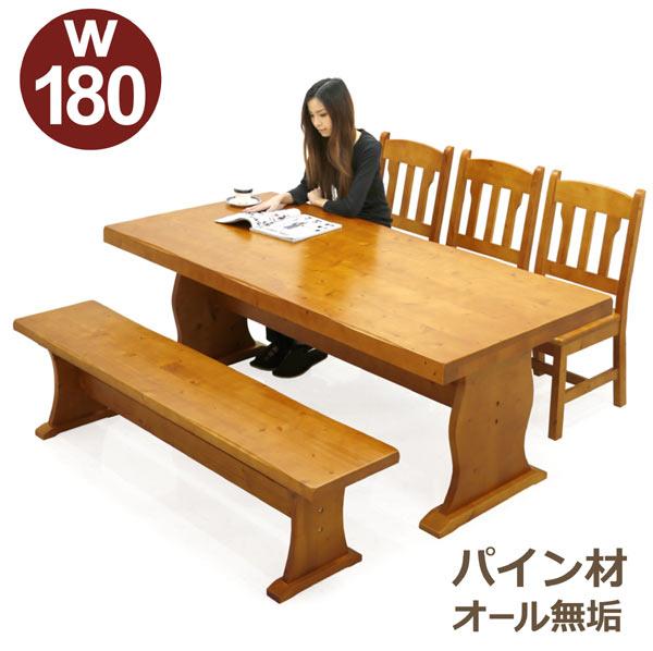 無垢材 ダイニングテーブルセット 6人掛け ダイニングセット 5点セット 180×90 180テーブル ベンチ カントリー 低め 木製 パイン 無垢 食卓テーブルセット シンプル 人気 楽天 通販 送料無料