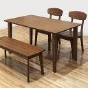 数量限定 ダイニングテーブルセット 4人掛け ダイニングセット 4点セット 4人 ベンチタイプ ブラウン テーブル幅135cm 135幅 135×80 ホ..