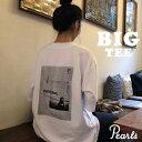 【ネコポス対応】【マタニテ トップス 春 夏 半袖 Tシャツ】印象的なフォトプリントの☆ビッグTシャツ