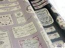 【ワケあり】【YUWA】綿麻キャンバス アンティークコラージュプリント ツヤ消しラミネート