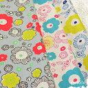 綿麻キャンバス 北欧風フラワープリント