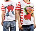 ショッピングボーダー 【ユーロ古着】 ヴィンテージ 1970年代頃 / 心臓泥棒 男の子 キャラ / 半袖Tシャツ / ホワイト 袖・脇ボーダー / レディースS相当【中古】♪♪