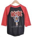 ショッピングswitch ヴィンテージ 1980年代 USA製 / AC/DC エーシー・ディーシー / FLICK OF THE SWITCH / ラグランバンドTシャツ / ブラック×レッド / メンズM相当【中古】○