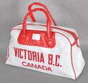 ヴィンテージ 1970年代 / CANADA VICTORIA B.C. カナダ ブリティッシュコロンビア州 スーベニア / スポーツバッグ ボストンバッグ / ホワイト×レッド【中古】♪○♪