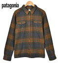 2012年製(FA12) / patagonia パタゴニア / Fjord Flannel Shirt フィヨルドフランネルシャツ / オーガニックコットン 長袖ネルシャツ / モスグリーン×ネイビー系 チェック柄 / レディースL相当【中古】▽