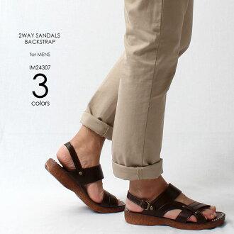 背 2WAY 涼鞋涼鞋布錶帶休閒涼鞋/舒適涼鞋