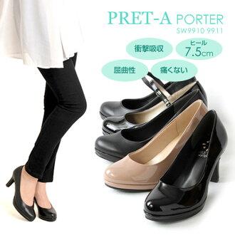 進入PRET-A PORTER/高級現成服裝7.5cm鞋跟暴風雨美腿好站臺女用淺口無扣無帶皮鞋/平面,叔父吊帶,低毛皮,開放的二