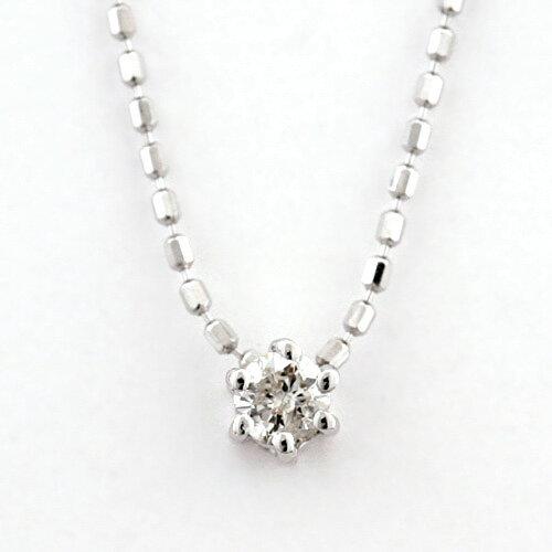 K10ホワイトゴールド 一粒ダイヤモンド0.07ct ペンダントネックレス(4月誕生石)[0621240131]