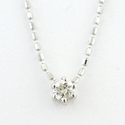 K10ホワイトゴールド シンプルダイヤモンドペンダントネックレス【楽ギフ_包装】