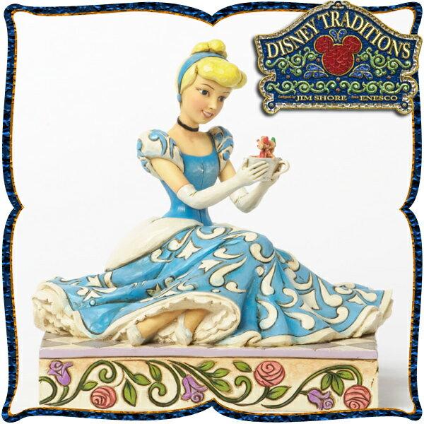 ディズニー プリンセス 木彫り調フィギュア シンデレラ 「Cinderella with Jaq and Gus」 ディズニー・トラディション