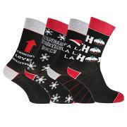 メンズ クリスマスデザイン ノベルティーソックス 紳士ソックス 靴下セット ソックスセット (4足組) 【楽天海外直送】