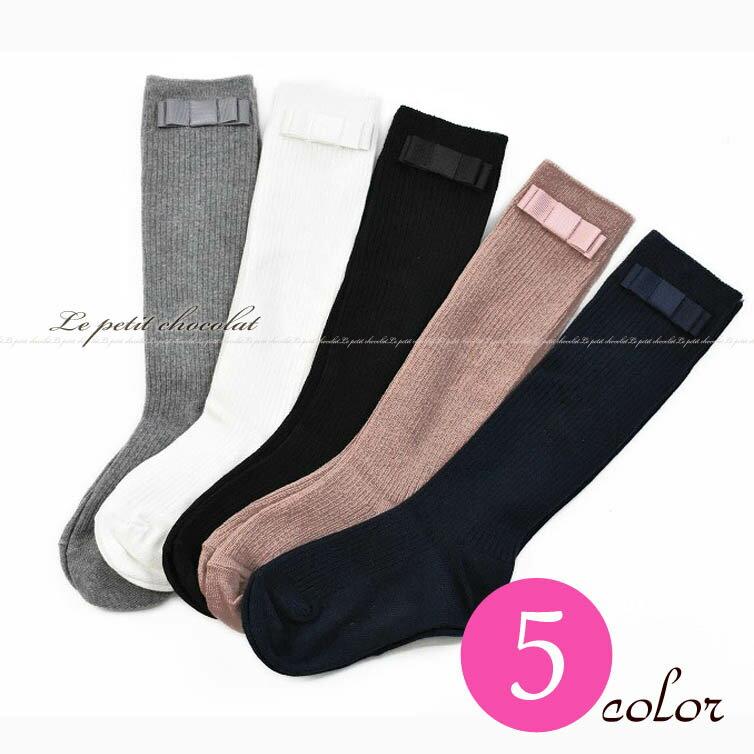 メール便OKグログランリボンがかわいい♪靴下リブハイソックス白グレー黒ピンク紺80cm90cm100