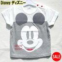 ディズニー 子供服 Tシャツ サイズ:80.90.95 Disney(ディズニー)ディズニー ミッキー 定価1,620円 ミッキーマウス フェイス柄グレー