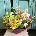 蘭ランの花をふんだんに使ったアレンジメント!豪華でスタイリッシュな贈り物です♪お祝い!お誕生日、記念