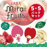 【送料込】ドライなのにもぎたて やみつきサクサク新食感フリーズドライフルーツ!【mirai fruits(ミライフルーツ)未来果実[いちご] [リンゴ]5+5パックセット】ドライフ