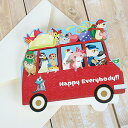 フェレットグリーティングカード プレゼントを運ぶ動物たち(バス) NO.906(封筒付き) フェレット 手紙 カード メッセージカード 雑貨 ステーショナリー グッズ ギフト 贈り物