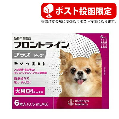 ポスト投函犬用フロントラインプラスXS6本5Kg未満動物用医薬品ノミダニ駆除犬用品犬ペットペット用品