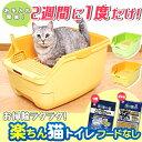 猫トイレ 2週間取替え不要 楽ちん猫トイレフード無しセット グリーンオレンジ RCT-530ネコトイ