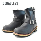 送料無料 エンジニア ブーツ ショート エンジニアブーツ《メンズ レディース》ゴッドブレス FAKE LEATHER ENGINEER BOOTS ブーツ 9809 God&Bless