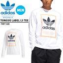 送料無料 長袖 Tシャツ adidas ORIGINALS アディダス オリジナルス メンズ TONGUE LABEL LS TEE ロンT ビッグロゴ ロゴTシャツ シャツ ホワイト 白 2020春新作 GVX50
