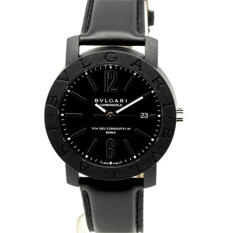 Bvlgari BB40CL carbon gold carbon x black leather belt Black Edition mens automatic winding / 32843 BVLGARI