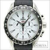 オメガ OMEGA シーマスター アクアテラ コーアクシャル クロノグラフ GMT ホワイト 231.13.44.52 メンズ/33928 【中古】 腕時計