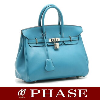 25 HERMES Birkin ヴォー Swift turquoise silver metal fittings /14998