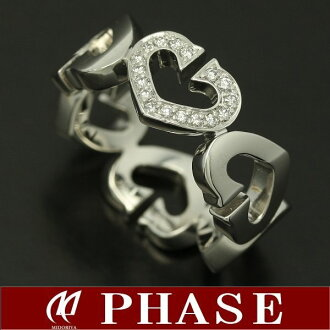Cartier 750 WG C heart ring 1 モチーフダイヤモンド #48/95987 fs3gm
