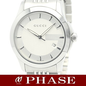Gucci 126.4 classic collection SS silver clockface men quartz /31206 fs3gm