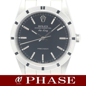 Rolex 14010M Air King SS black エンジンターンドベゼル men's automatic self-winding / 31237 fs3gm