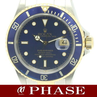 Rolex 16613 blue Submariner date YGSS duo men's K, automatic / 31344