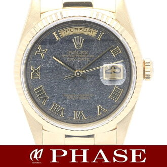Rolex 18238 YG solid day ferrite (iron oxide) character Board Roman number mens automatic winding / 31350 fs3gm
