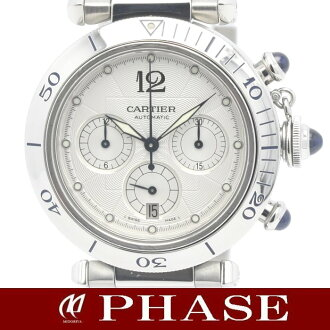 Cartier Pasha 38 mm chronograph W31030H3 SS Silver Guilloche mens automatic winding / 31479 fs3gm